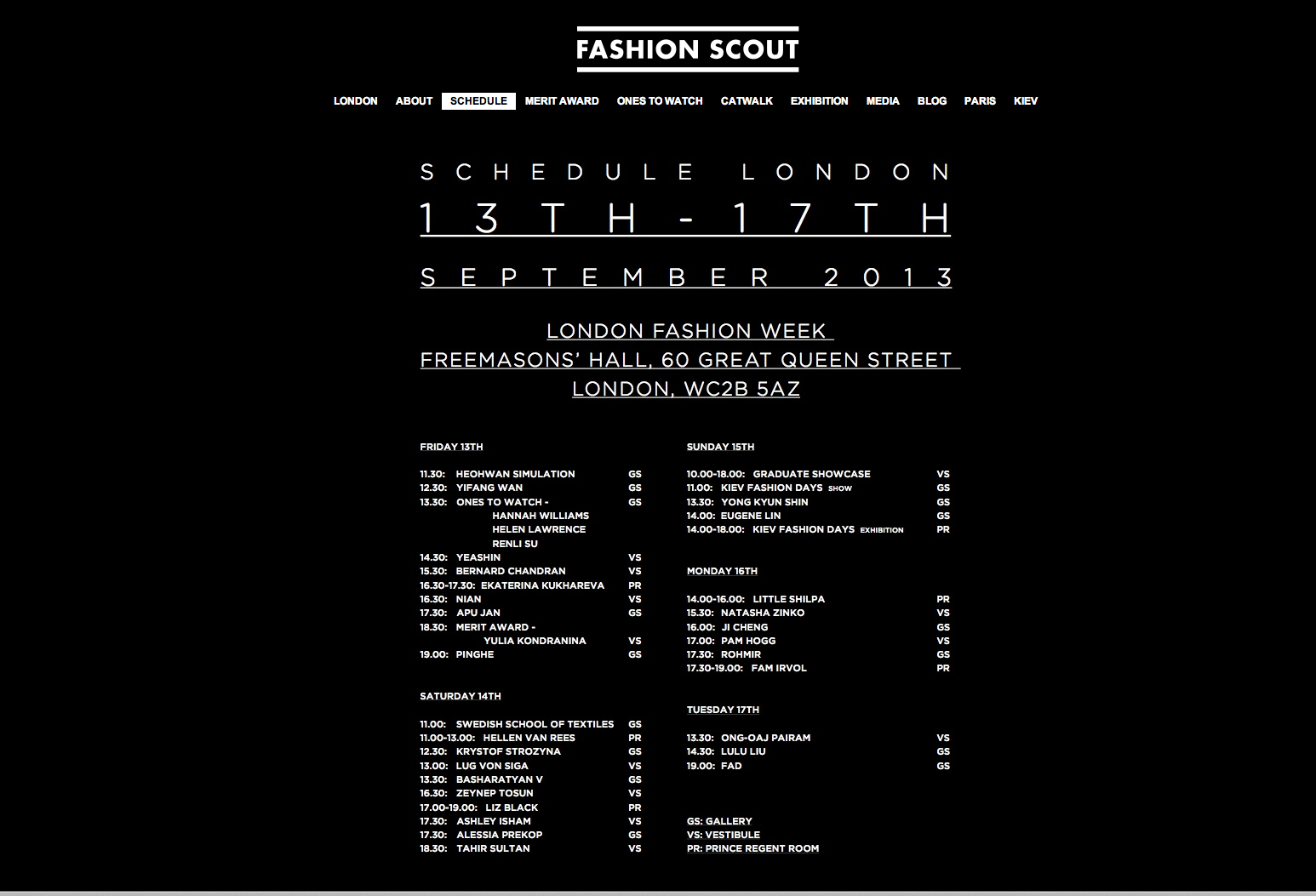 fashion scout schedule ss14