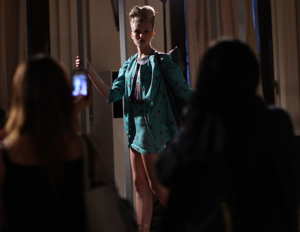 Model wearing Fam Irvoll  blazer and skirt from 2014 collection at LFW.