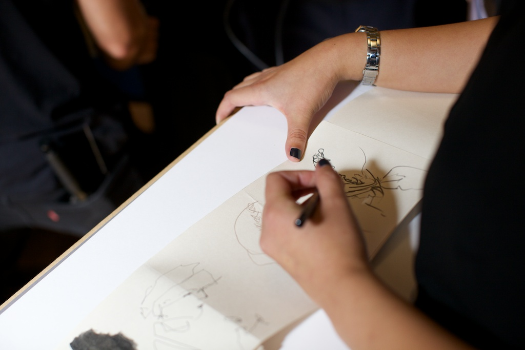 Vivien Chan sketching at LFW SS15