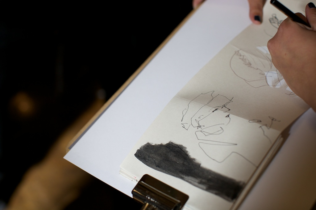 Vivien Chan sketching during LFW SS15