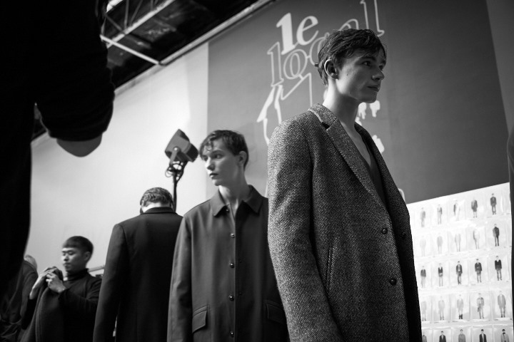 Models backstage during Wooyoungmi Menswear Paris AW 2015 Fashion Show, image by akin abayomi