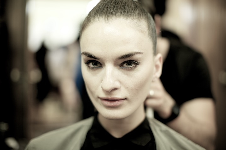 Model backstage at London Fashion Week,  Apu Jan Fashion Show, in Fashion Scout, image provided by akin abayomi