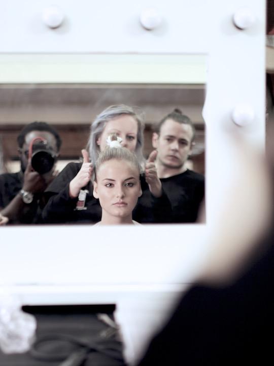backstage during make up and hair for Apu Jan Fashion Show during London Fashion  Week, image provided by akin abayomi @dreadheadphoto
