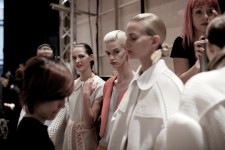 Models backstage for the Xiao Li SS15 show