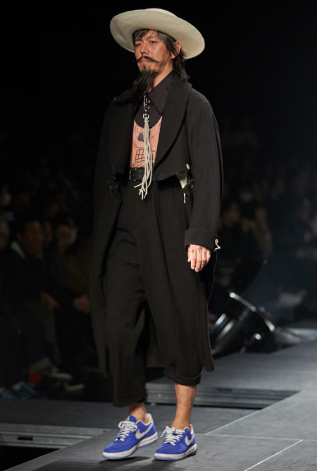 model wearing Takeo Kikuchi AW15 Collection 30th Anniversary during MBFWT Fashion Week Tokyo, image by Akin abayomi