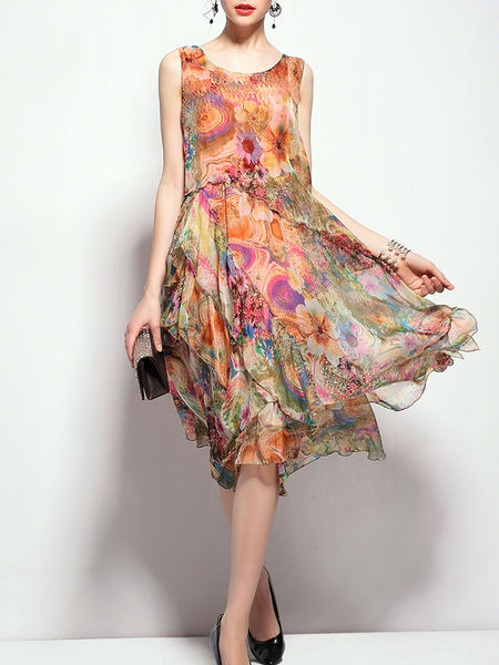 StyleWe Ad, crew neck casual floral print sleeveless dress, QinPei