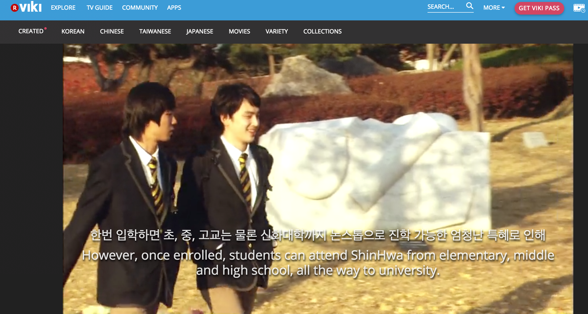 Screen Shot of learning korean in viki