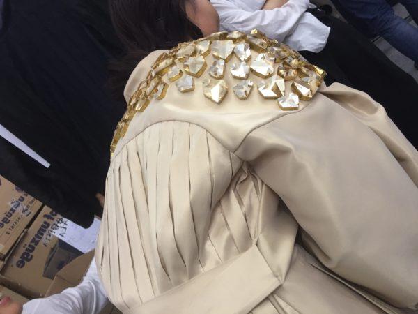 model wearing nobi talai Spring/summer 2018, crystals on coat.