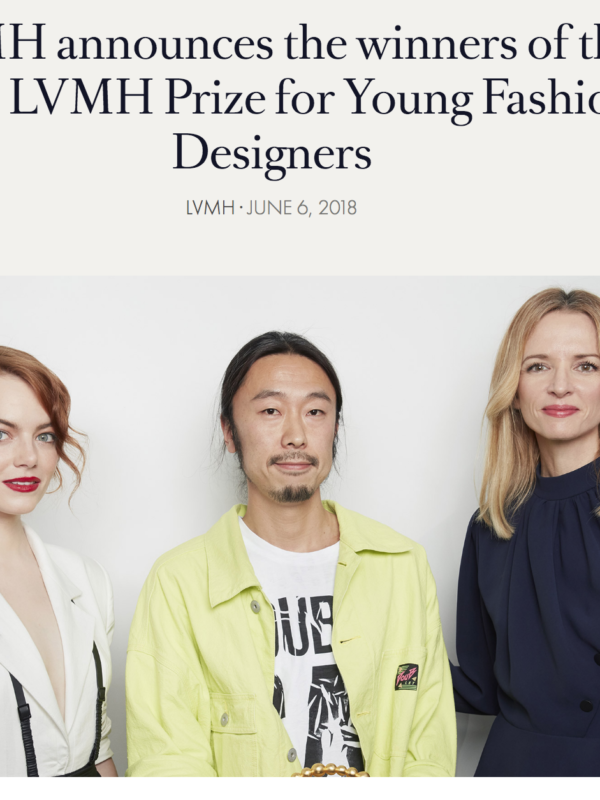 Masayuki Ino for Doublet named as the recipient of the 2018 LVMH Prize.